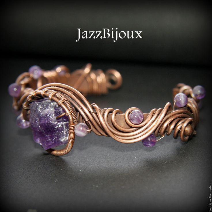 Купить Медный браслет с аметистом - браслет, плетеный браслет, подарок девушке, крупный браслет