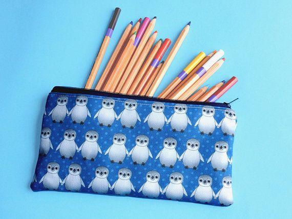 Penguin pencil pouch  blue zip pouch  penguin lover gift