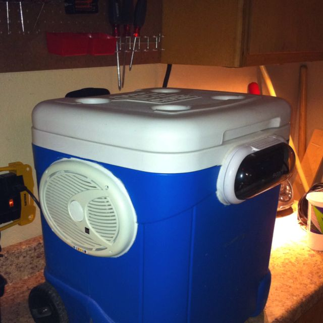 This is my cooler radio made with 2 6x9 marine speakers and a marine grade radio with a water proof cover.