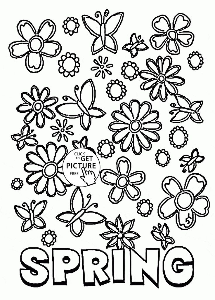 Many Spring Flowers coloring page for kids, seasons