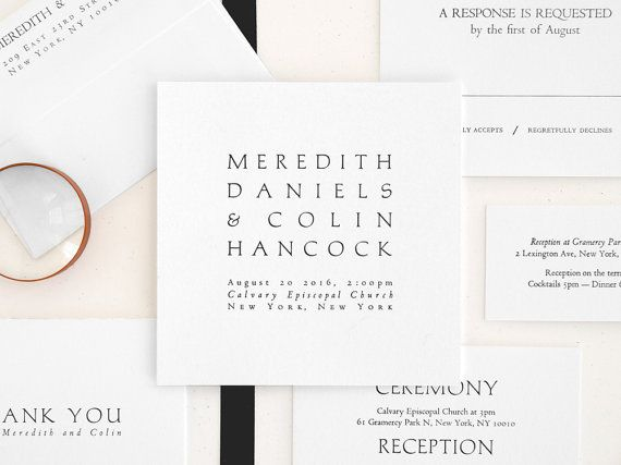 NAVONA Letterpress Wedding Invitation  Modern di seabornpress