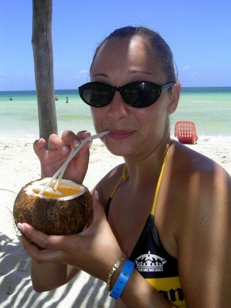 Coconut drinks sold on the beach