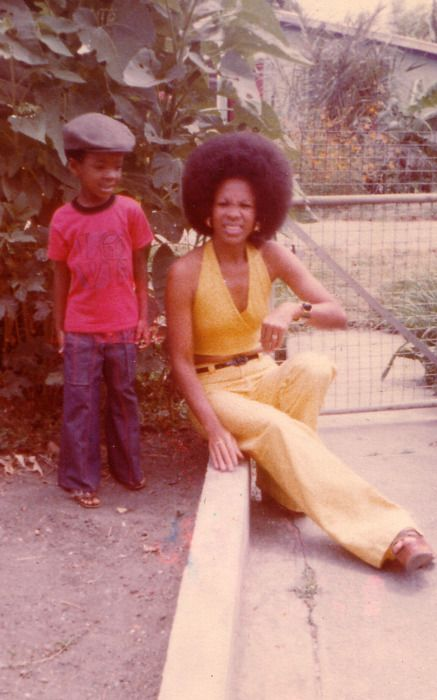 yellow outfit, afro
