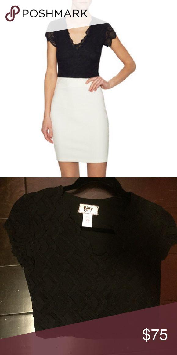 Nightcap Victorian Lace Deep V Crop Top Tight crop top, size 2 in Nightcap. Sheer short sleeves. Nightcap Tops Crop Tops