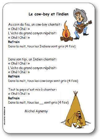 Chanson Le cow-boy et l'indien Michel Agneray, chanson cowboy et indien