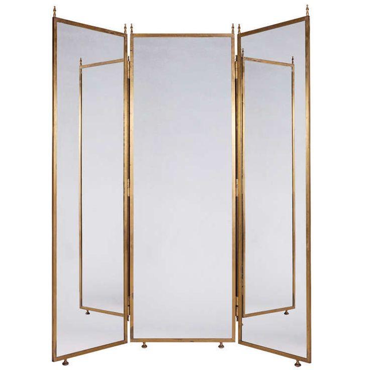 Three Way Brass Mirror