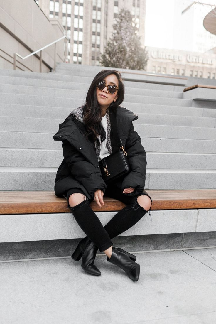 Sweet Home Chicago   Chicago outfit ideas winter   black puffer jacket outfit winter   Chic winter coat outfit ideas   black jeans outfit   casual out…