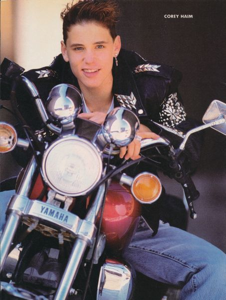 Corey Haim on Yamaha bike wearing awesome earring