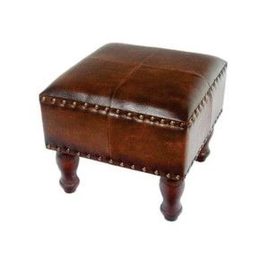 Faux Leather Square Stool