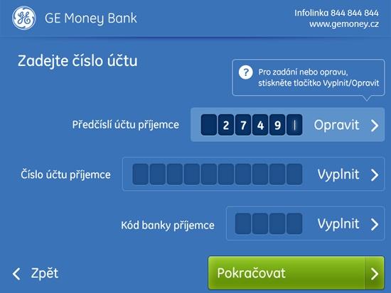 Nový design bankomatů GE Money Bank - Obrazovka Příkaz k úhradě
