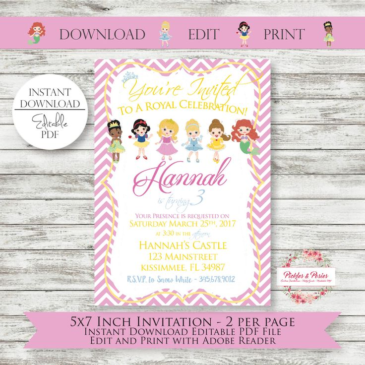 Editable Princess Birthday Invitations - INSTANT DOWNLOAD - Princess Party -  Princess Party Supplies - PRINTABLE - Princess Invites by PicklesAndPosies on Etsy