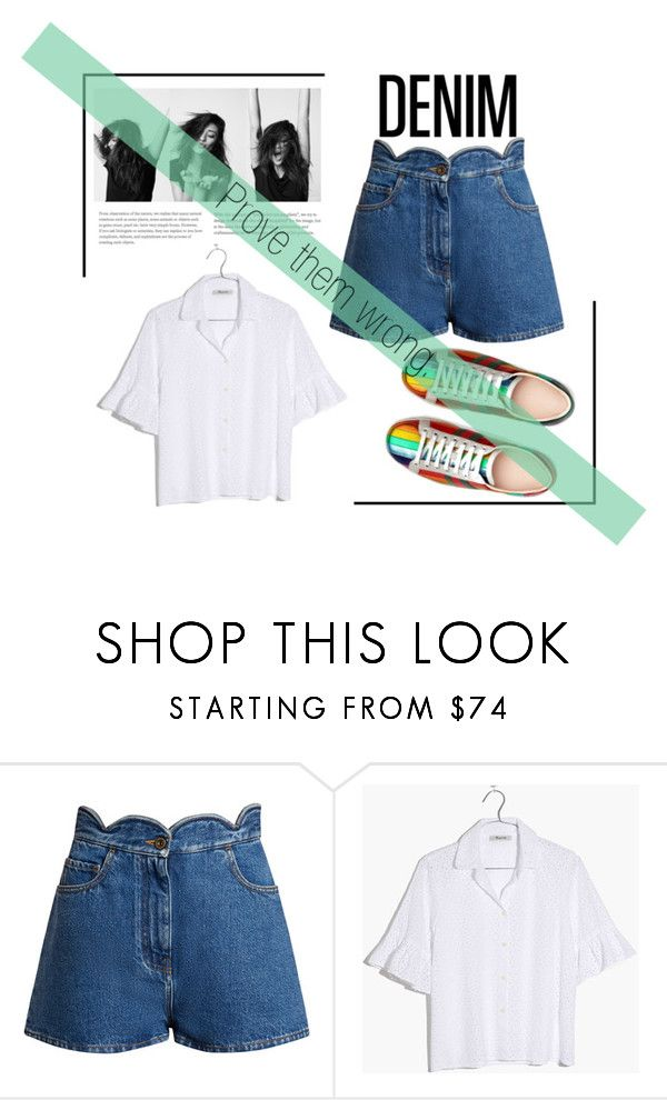"""Summer Staple: Denim Cutoffs"" by spencer-hastings-5 on Polyvore featuring moda, Valentino, Madewell, Gucci, white, denim, rainbow, shaymitchell i DENIMCUTOFFS"