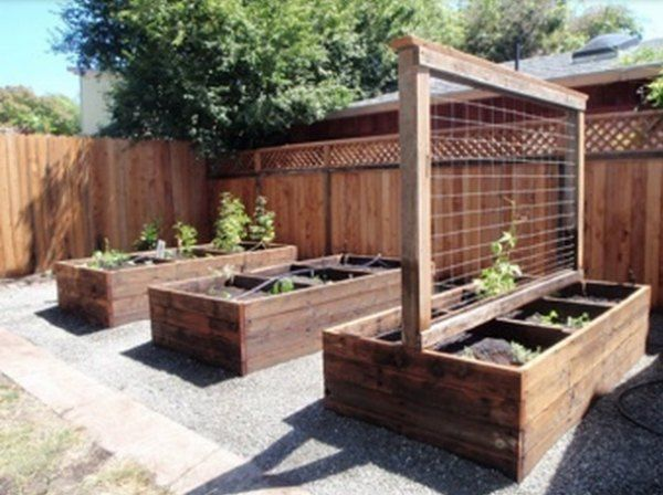 Use of hogwire for a trellis, creating single panels behind bench