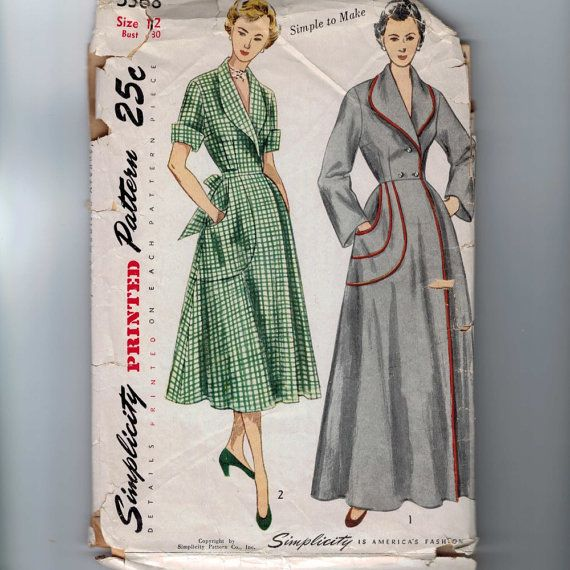 1950s Vintage Sewing Pattern Simplicity 3368 Misses Brunch Coat Housedress Dress Size 12 Bust 30 1950 50s. $22.00, via Etsy.