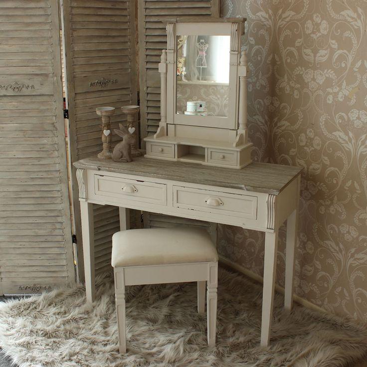 Lyon Range - Cream Dressing Table, Mirror and stool Set