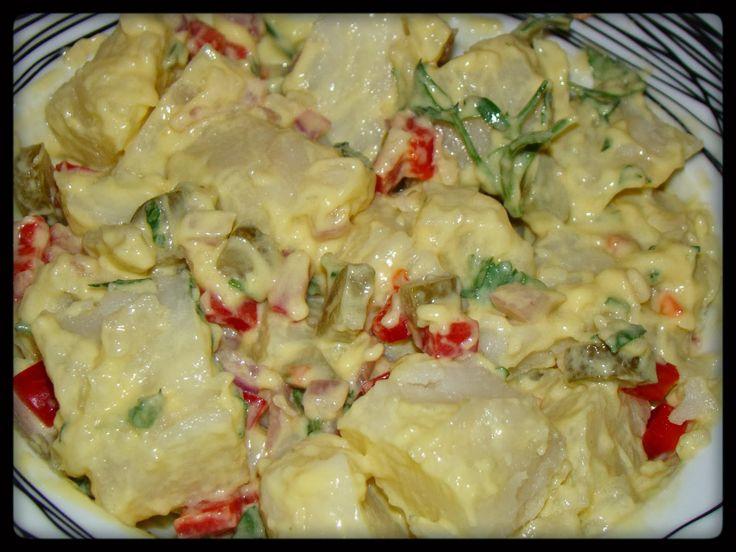 Υλικά:   4-5 πατάτες  1 μεγάλο κρεμμύδι κομμένο σε κυβάκια  3 κ.σ μουστάρδα  3 κ.σ μαγιονέζα  2 κ.σ κάπαρη  4-5 αγγουράκια τουρσί ψιλοκο...