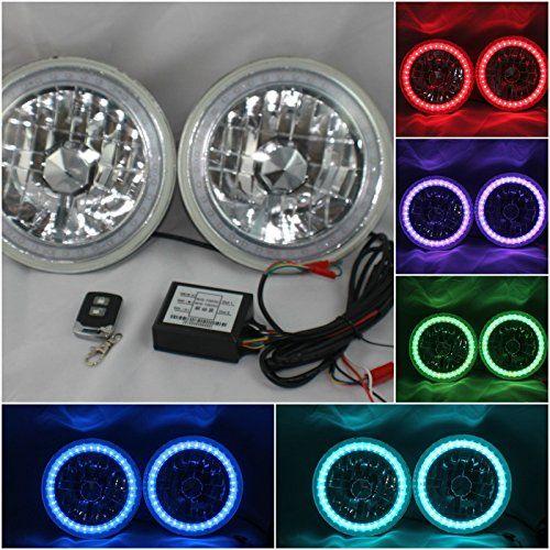 "JK TJ Jeep Wrangler 7"" Multi-Color LED Halo Ring Headlights"