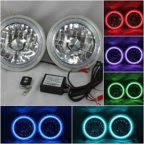 "JK TJ Jeep Wrangler 7"" Multi-Color LED Halo Ring Headlights"
