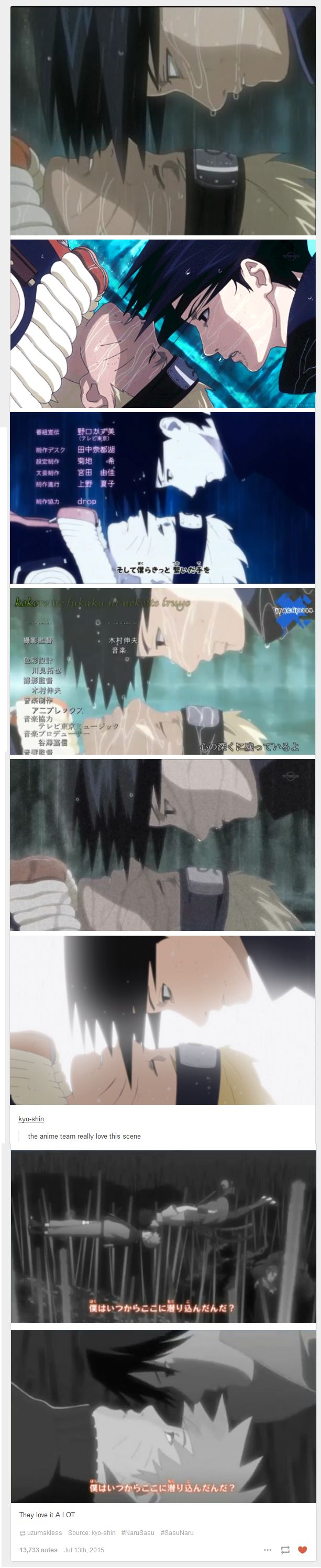 "<3 Naruto & Sasuke - ""the anime team really love this scene "" ... ""They love it A LOT."""