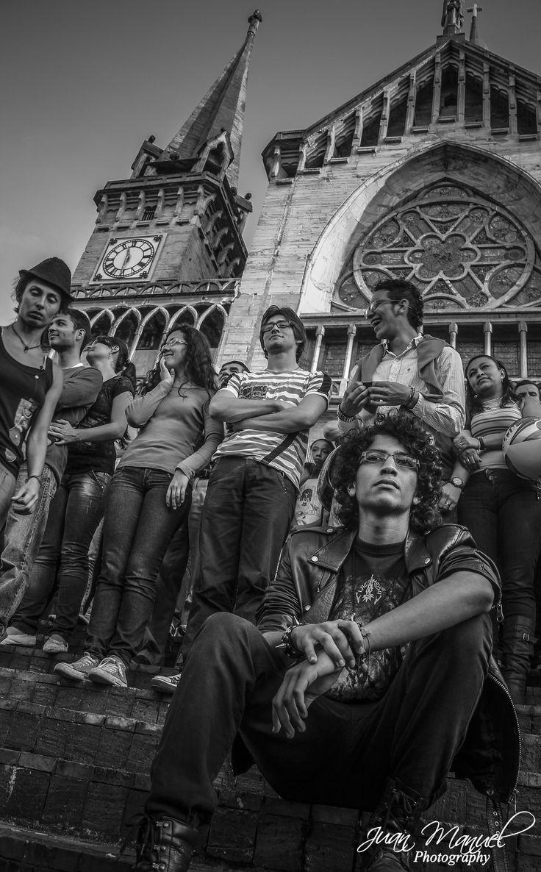 Catedral, multitud, Fotografía blanco y negro