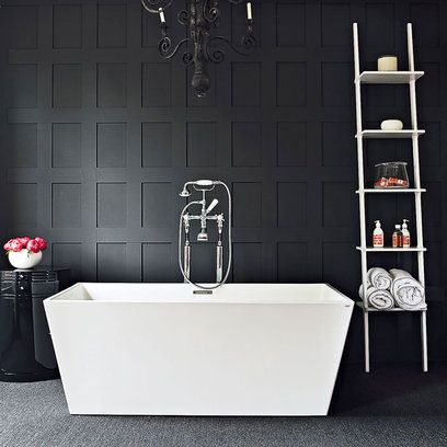 Love the style of this bathroom, but not sure about the angular style of this tub for me...