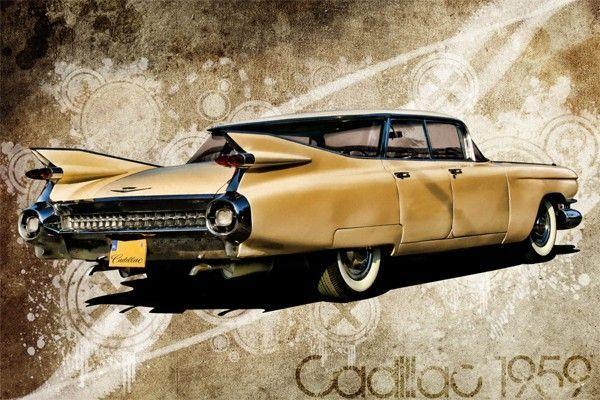 tableau voiture vintage cadillac deville 1959 tableau toile voiture pinterest cadillac. Black Bedroom Furniture Sets. Home Design Ideas
