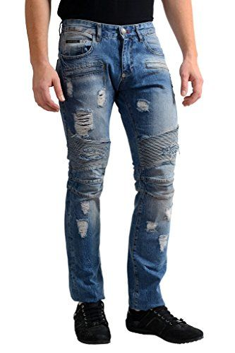 "Philipp Plein ""Illegal Fight Club"" Men's Blue Straight Cut Jeans"