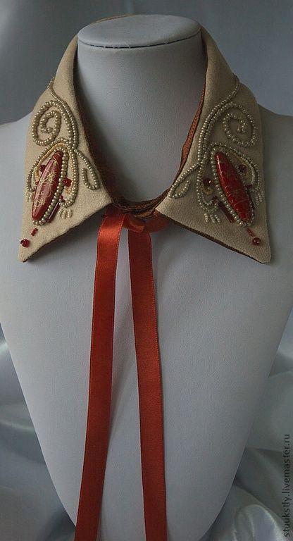 Воротничок бежевый с красным - воротничок съемный,воротник,Вышивка бисером