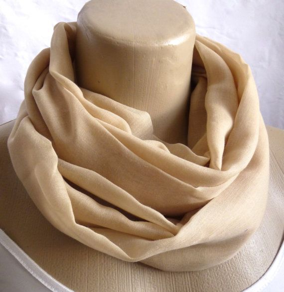 Infinity Scarf Beige Super Soft Loop Summer by ShawlsandtheCity, $17.00