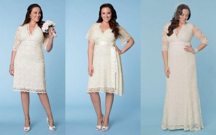 Tres largos diferentes para novias, ¿con cuál te quedas? | Vestidos para matrimonio civil para gorditas de moda!