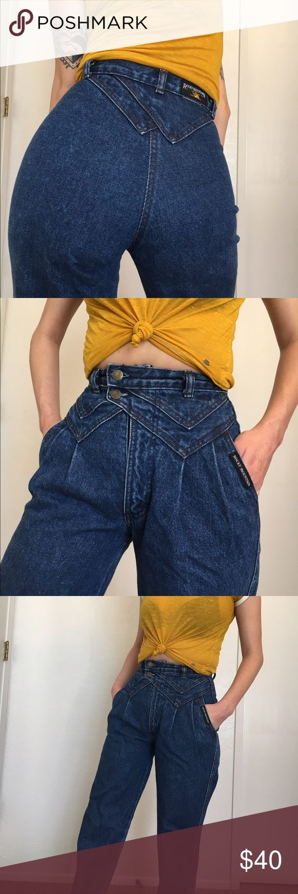 Vintage Rocky Mountain Jeans Super high waisted Rocky Moutan jeans! They zip up in the front and have two buttons on the side. They are in perfect condition, vintage jeans last forever!! #Levis #wranglers Jeans Boot Cut
