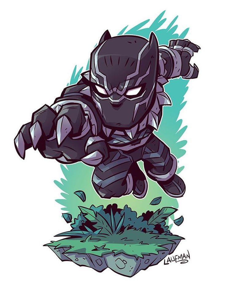 Chibi Black Panther! Prints available at www.dereklaufman.com (link in my profile) #blackpanther #wakanda #tchalla #chibi #fanart #clipstudiopaint #mangastudio #dereklaufman