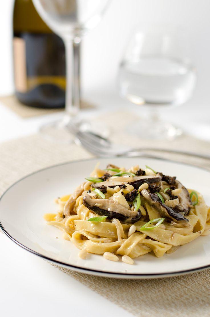 Healthy Mushroom Fettuccine Alfredo: tablespoon butter 3 cloves garlic ...