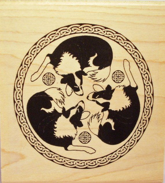 Border Collie Trio Rubber Stamp Celtic Knot Frame 457 by Triskelt
