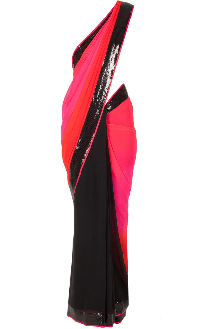 Red and pink ombre sequin border sari available only at Pernia's Pop-Up Shop.