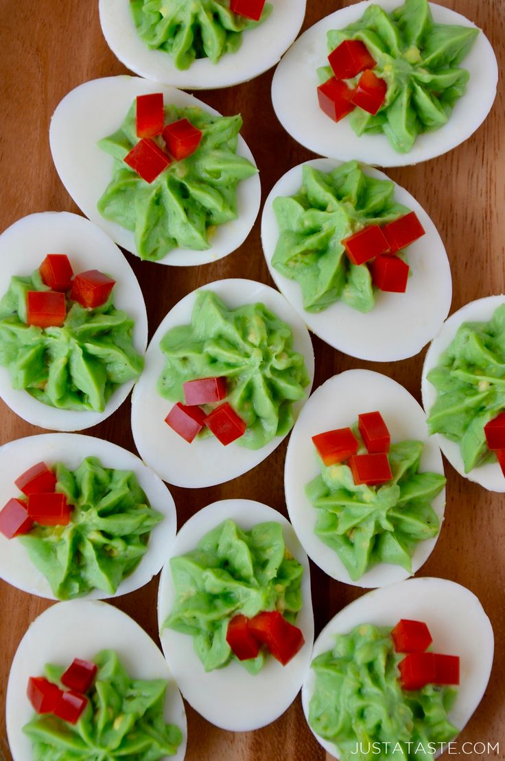 Add a festive touch to your holiday lineup with a quick and easy recipe for creamy Christmas Deviled Eggs made with avocado.