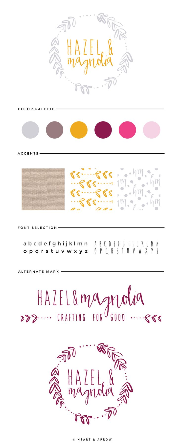 Hazel and Magnolia Brand Board // love love this one- especially the fonts + hand lettering look. Also really like the full logo/header PLUS the round more compact version. The colors are not what I'm looking for but love the logo