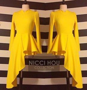 Nicci Hou yellow asymmetrical peplum top~ Fabulous