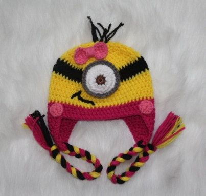 Crochet Minion Hat for girls Pink Minion by RevelynsHandcrafts