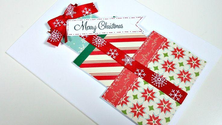 Christmas Cards #3 | Tarjeta navideña reciclando papeles Muy FÁCIL