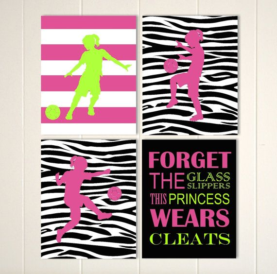 Art for girls, soccer girl, zebra pattern girls room decor, soccer player wall art, set of 4 custom colors and sports
