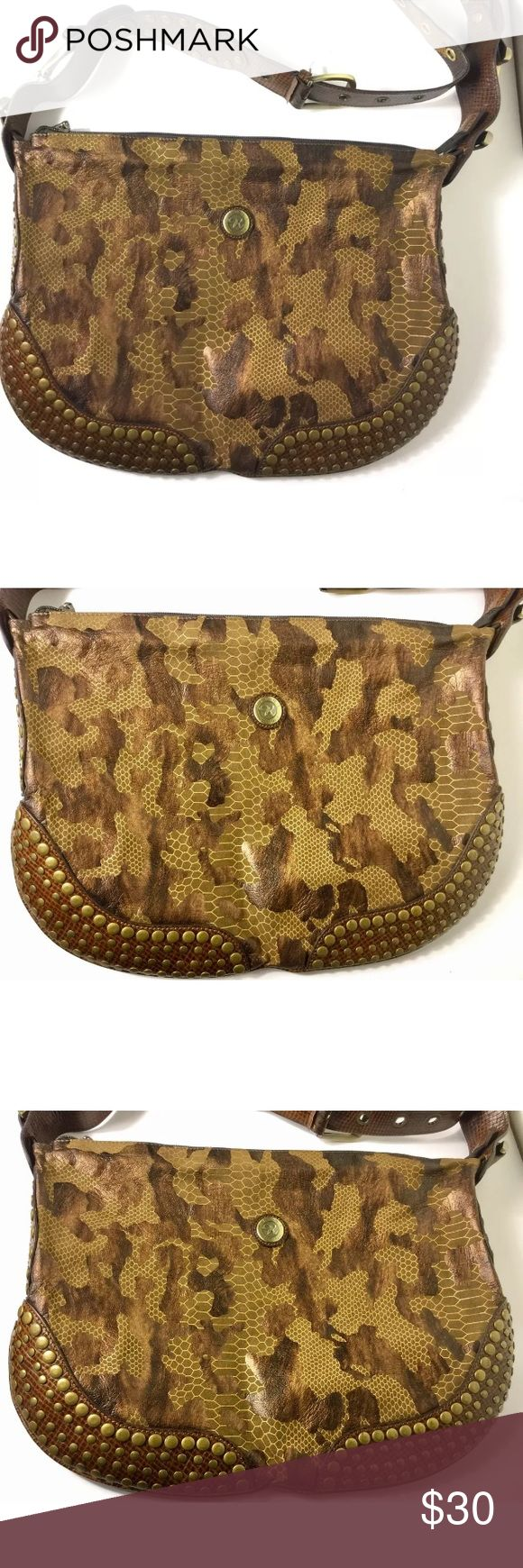 "Rioni Moda Italia Crossbody Animal Snake Print Bag Feels like leather, but not sure of material . Bronze color..14"" long, adjustable strap. Excellent condition. Rioni Bags Crossbody Bags"