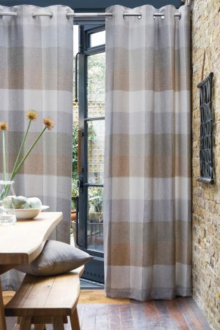 Buy Natural Block Check Eyelet Curtains from the Next UK online shop