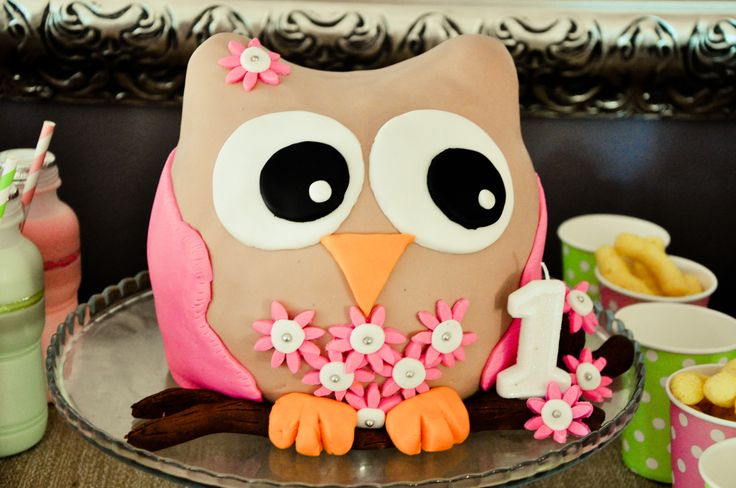 Kayla's first birthday cake. oh and how i loved making this owl.