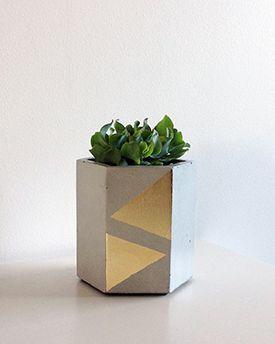 Studio Fiveo3 Large Gold Leaf Triangle Planter