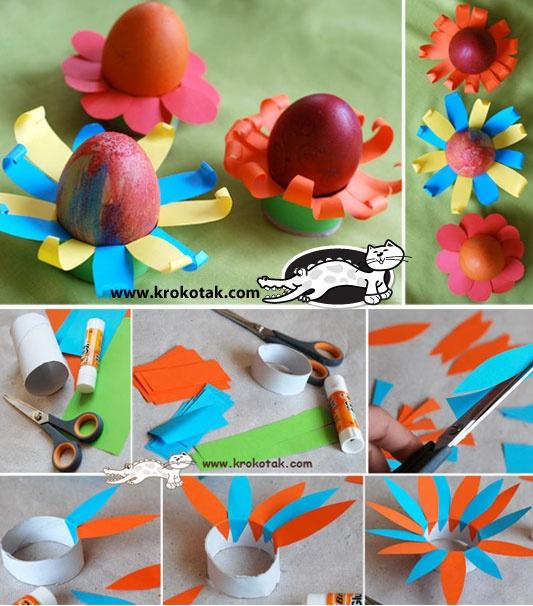 """eierdopjes met ( door een potlood te gebruiken en de puntjes """"om te rollen"""") bloemblaadjes"""