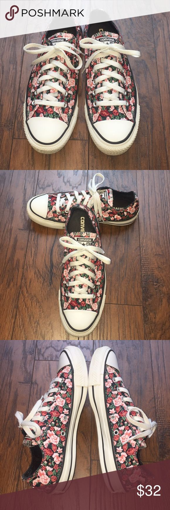 Converse All Star black floral roses low tops 8 Awesome Converse All Star sneakers in black, covered in a sea of roses. The perfect balance of pretty and edgy! Women's size 8. Converse Shoes Sneakers