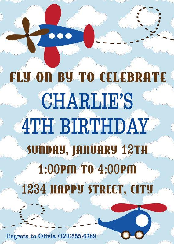Plane and Helicopter Birthday Invitation by HeartfeltInvitations
