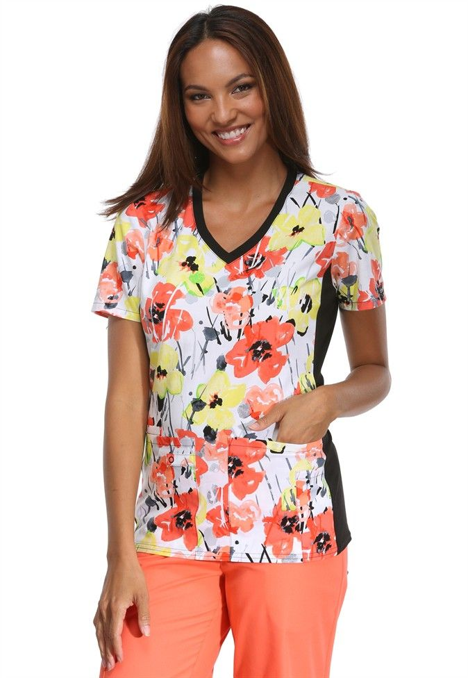 Cherokee Flexible Awash In Color print top | Scrubs and Beyond