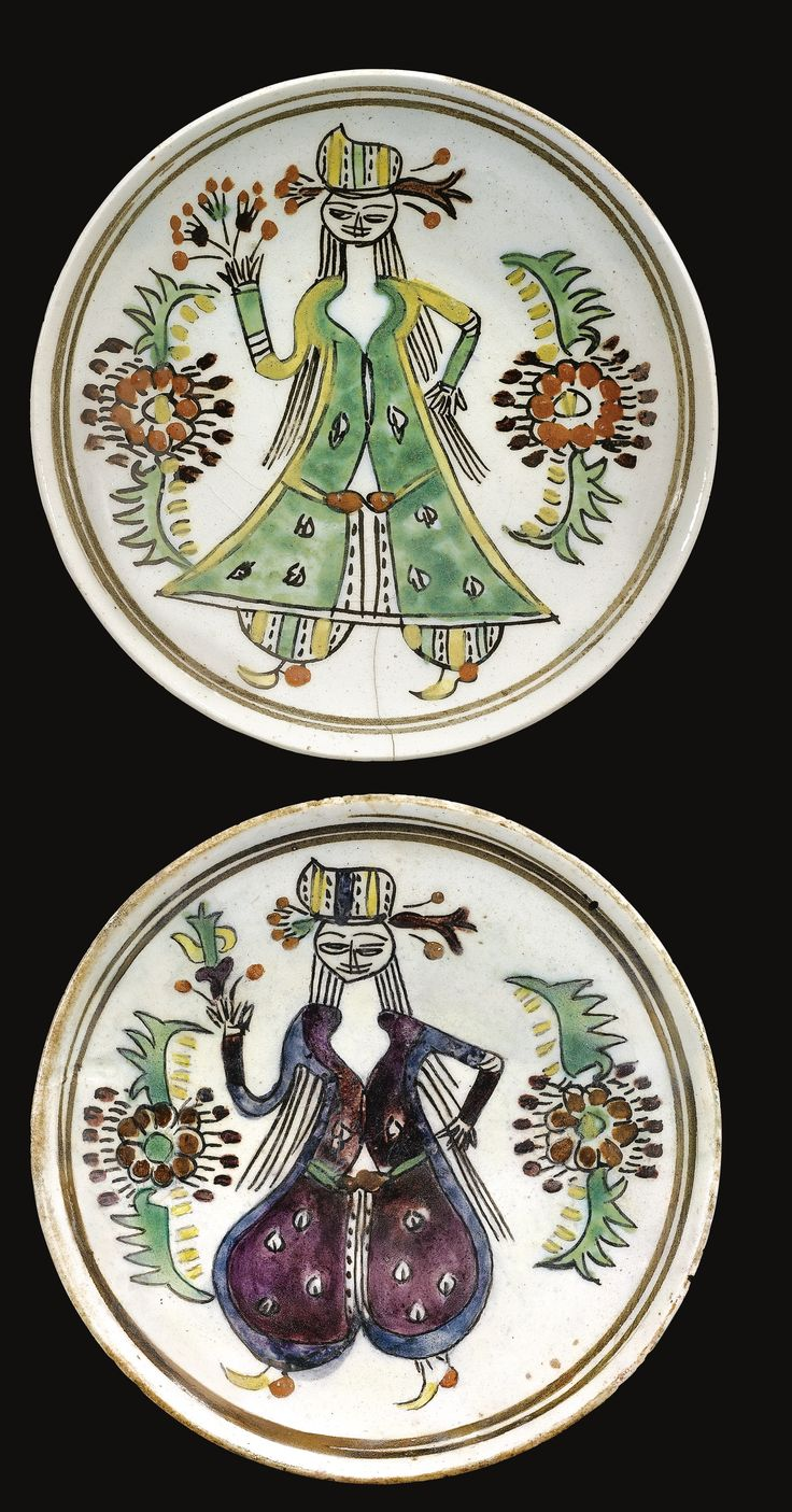 Two Kütahya figural dishes, Turkey, second half 18th Century ༺JS༻